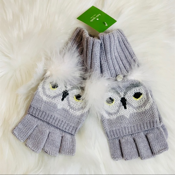 Kate Spade /'Who Me?/' Gray Star Bright Owl Wool Beanie Mitten Set  NWT $158 MSRP
